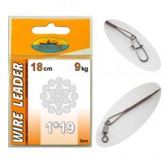Поводок с застёжкой 1х19 Wire Leader Fishing ROI 18cm 5kg (2pcs)