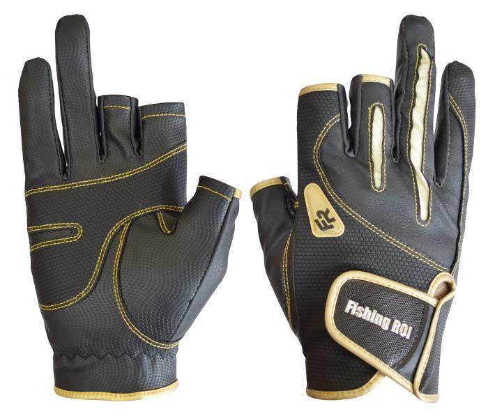 Перчатка спиннингиста Fishing ROI WK-04 black-gold L (c 2 пальц.)