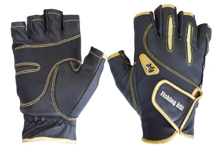 Перчатка спиннингиста Fishing ROI WK-04 black-gold L (б/пальц.)