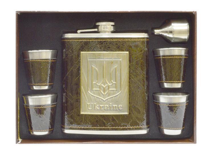 Подарочный набор AM003A (фляга кожа, 4 стопки, лейка) Украина