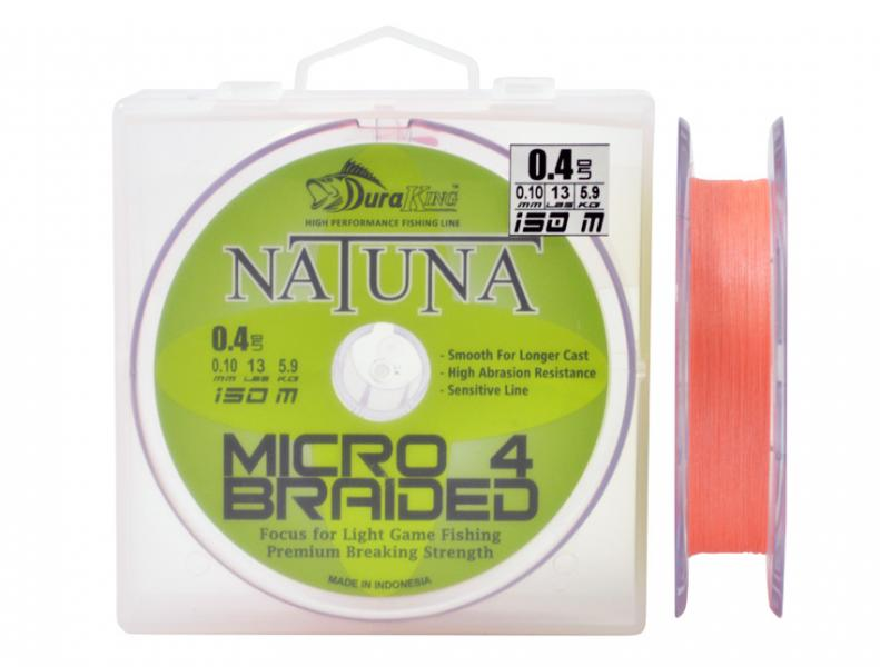 Шнур DuraKing Natuna X4 Micro Braided 150m. 0.2/0.08mm. /11Lbs./5.0kg (Orange)
