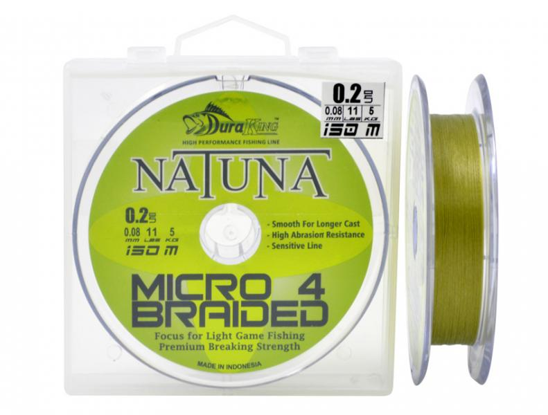 Шнур DuraKing Natuna X4 Micro Braided 150m. 0.4/0.10mm. /13Lbs./5.9kg (Yarite)