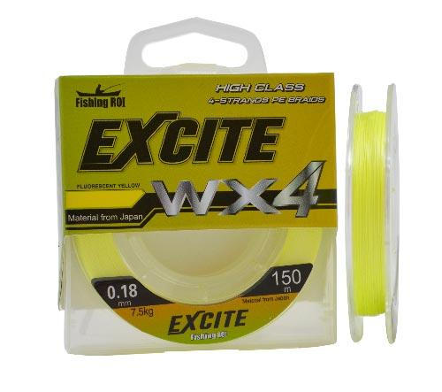 Шнур Fishing ROI Excite WX4 0,18мм 7,5кг 150m fluorescent yellow