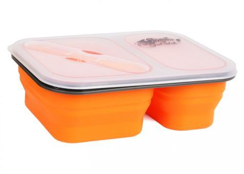Контейнер силиконовый на 2 отсека Tramp (900ml) с ловилкой orange TRC-090-or