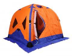 Палатка зимняя надувная 220*220*170 оранжево-синяя