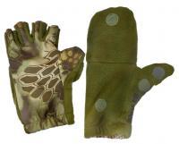 Перчатки Fishing ROI рыбацкие с пал. Рептилия (олива) L