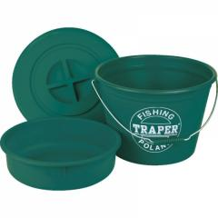 Ведро TRAPER для прикормки 25л таз+крышка зелёное