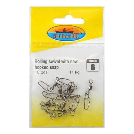 Вертлюг с карабином Fishing ROI Rolling swivel with new hooked snap №14