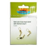 Крепление поплавка Fishing ROI Gold color brass head swivel with interlock snap M