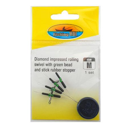 Монтажный  элемент Fishing ROI Diamond impressed rolling swivel with green bead and stick rubber stop. L