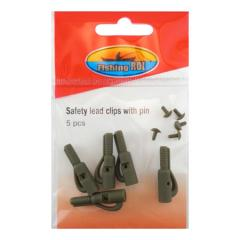 Безопасная клипса Fishing ROI Safety lead clips with pin (green)